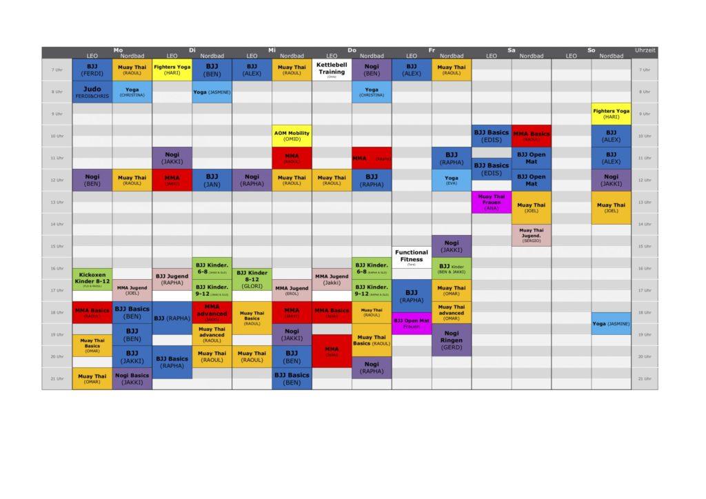 Stundenplan Munich MMA CORONA 5er Gruppen 2.0