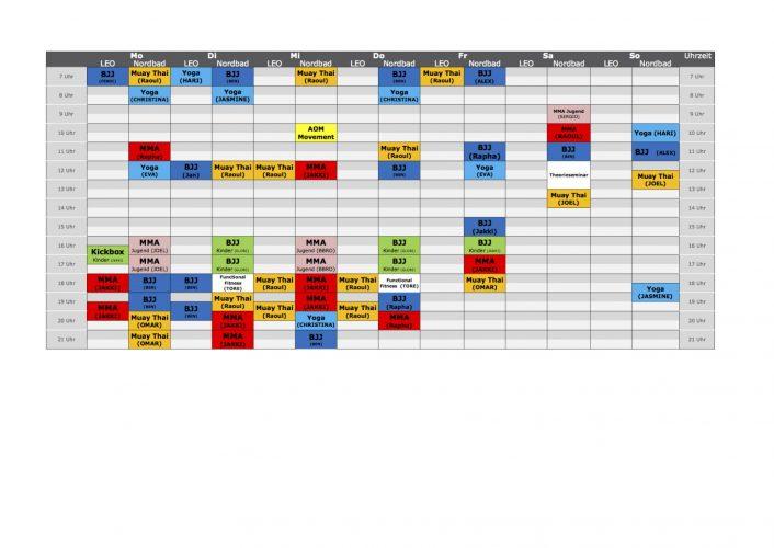 Stundenplan Munich MMA Corona zwei Locations