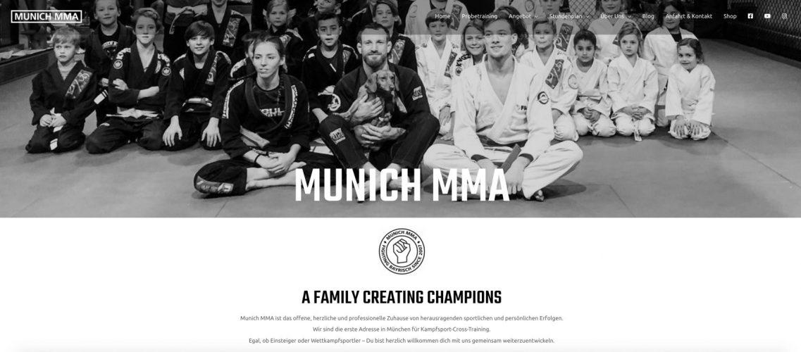screen shot munich mma website